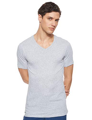 Lacoste 3-er Set Slim Fit T-Shirt mit V-Neck Weiss, Grau, S (Gr. Small)