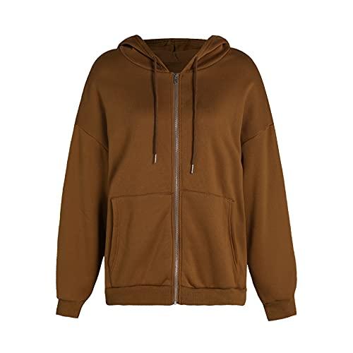 Womens Oversized Hoodie Sweatshirt Zip Up Vintage Coat 90s Y2K E-Girl Stylish Loose Basic Top (Brown, Large)
