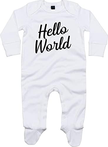 Kleckerliese Grenouillère pour bébé Motif Hello World - Blanc - 3-6 mois