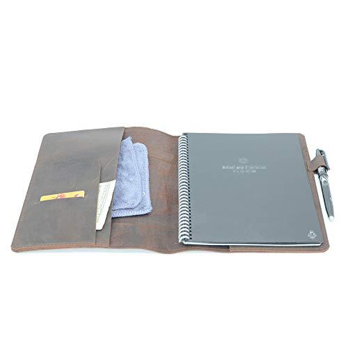 JJNUSA Étui pour carnet de notes en cuir véritable vieilli fait à la main pour Everlast Fusion Wave Moleskine, A4 avec passant pour stylo 27,9 x 21,6 cm