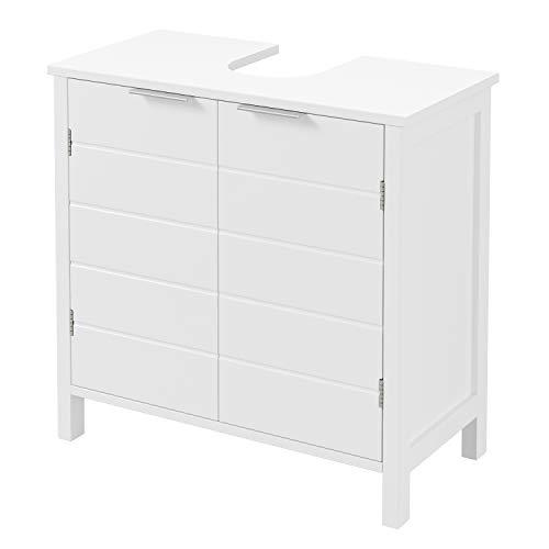 Homfa Waschbeckenunterschrank Unterschrank Badezimmerschrank Badschrank Waschtischunterschrank mit Tür und Verstellbarer Einlegeboden Weiß Holz 60x60x30cm