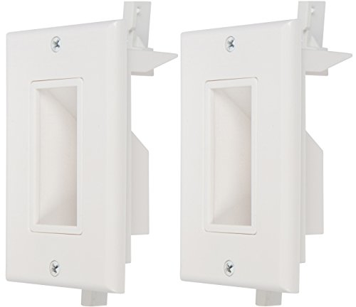 Buyer's Point Recessed Low Voltage Cable Wall Plate, Easy to Mount Outlet to Hide & Pass Tech Wires Through for HDMI, TV, Video, Audio, Network, Speaker Wires, Cord Concealer Cover Hider (2 Pack)