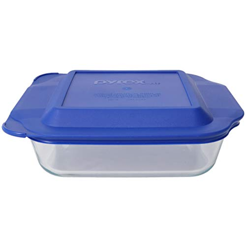 Pyrex (1) 222 Square Glass Baking Dish & (1) 222-PC Blue Lid