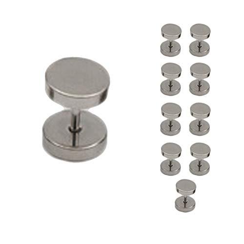 Demarkt - Juego de 5 pares de pendientes circulares de acero inoxidable para hombre y mujer, túnel, pesas, pendientes falsos, plata, 8 mm