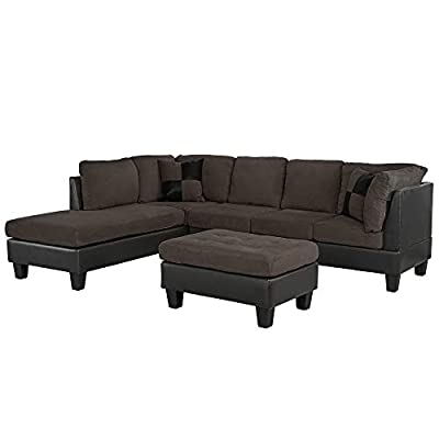 "Casa AndreaMilano 3-Piece Microfiber and Faux Leather Sofa and Ottoman Set, 102"" W"