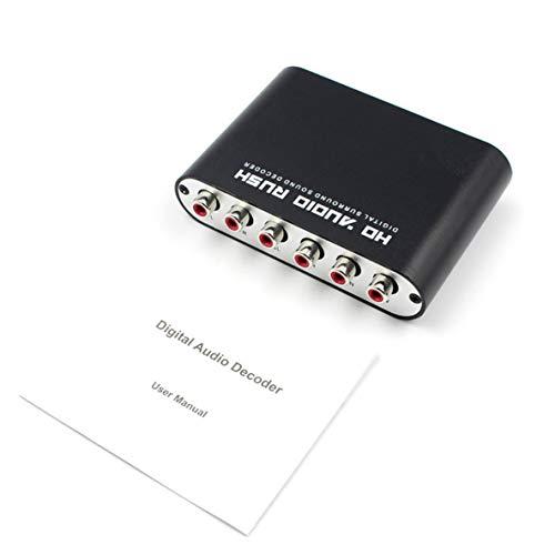 Decodificador de Audio Digital, convertidor de decodificador de Audio Digital de 5.1 Canales DTS/AC-3 Rush Audio Gear Decodificador de Sonido Envolvente para Cine en casa