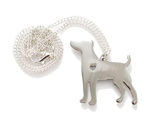 Miniblings Hund mit Herz Kette Halskette 45cm Labrador Hundekette Tier Edelstahl - Handmade Modeschmuck - Gliederkette versilbert