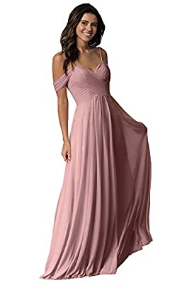 Women's Sweetheart Long Bridesmaid Dress Off The Shoulder A Line Pleated Formal Evening Party Dress Dusty Rose Size 10