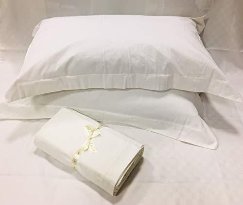 FRANZESE FRANCESCO Srl Completo Lenzuola matrimoniali in Raso Cotone Tinta Unita (Bianco)