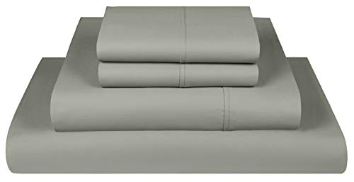 Threadmill Home Linen 800 Thread Count Queen Bed Sheets Set - 100% Extra-Long Staple Cotton Sheets for Queen Size Bed with Deep Pocket, Luxury 4 Piece Bedding Set, Smooth Sateen Weave, Moon Rock Grey