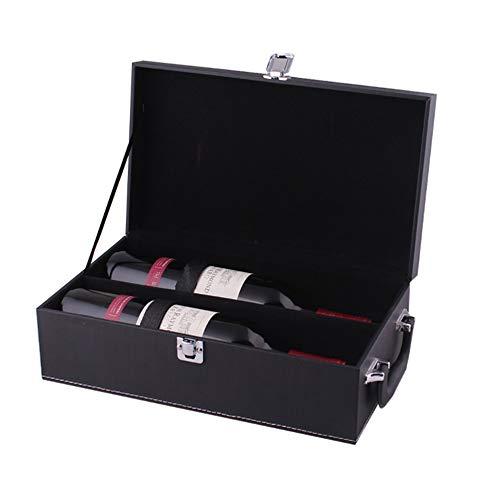 Wein Geschenkbox Schlichtes Design schwarz PU Leder tragbare 2 Flasche Wein Box Top Griff Reise Weinkoffer Rotwein Champagner Lagerung Geschenk Verpackung Box für Geburtstagsfeier Zeremonie Housewarmi