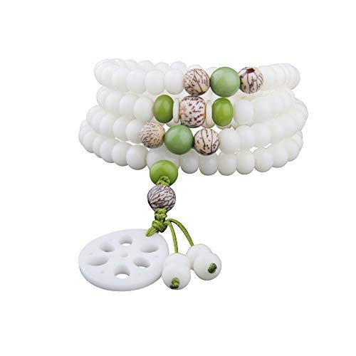 SWAOOS White Jade Bodhi Multicapa 108 Pulsera De Cuentas Moda Budismo Yoga Joyería para Hombres Y Mujeres