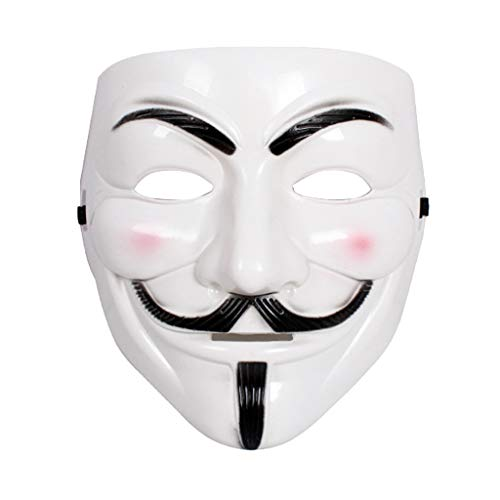 5PCS V de Vendetta Guy Fawkes Máscara Vendetta Blanco Careta V Cosplay V Vendetta Mask Horror Divertido Scary Disfraz Face Mask Fiesta de Halloween