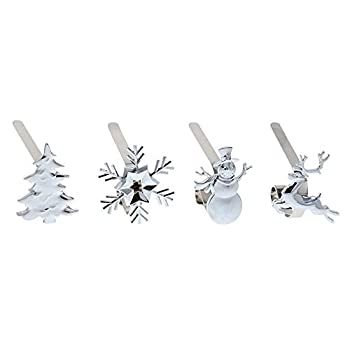 Haute Decor MantleClip Stocking Holders with Removable ZINC Alloy Holiday Icons  4-Pack Assorted Icons Silver