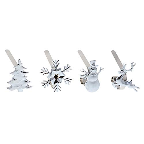 Haute Decor Mantle Clip Stocking Holders (4-Pack Assorted Icons, Silver)