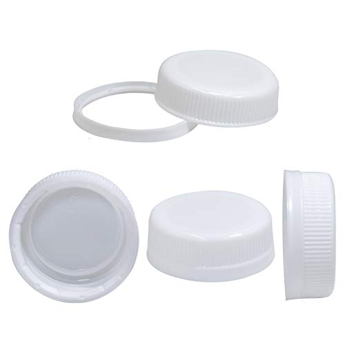 Pack of 25 caps for empty juice bottles - white tamper seal lids for 4, 8.12, 16, and 32 oz empty plastic milk containers for upper midland product bottles