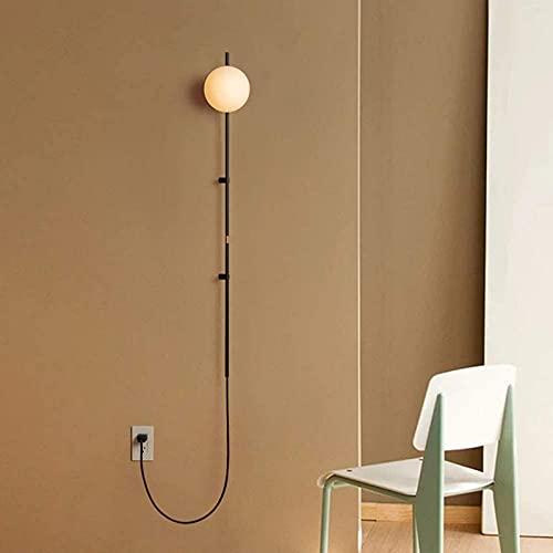 ZJJZ Lámpara de Pared Modern Simplicity E14 con Fuente de alimentación Cable de conexión Aplique de Pared Iluminación Pantalla de Vidrio Lámpara de Lectura Poste de Hierro Forjado para Dormitorio