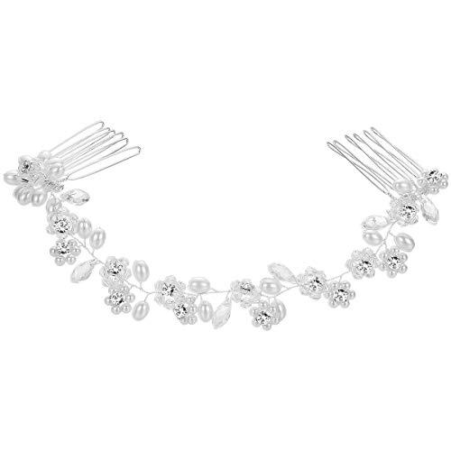 Frcolor Braut Kämme Clips Kristall Perle Haar Kamm Hochzeit Kopfschmuck Haarschmuck (Silber)