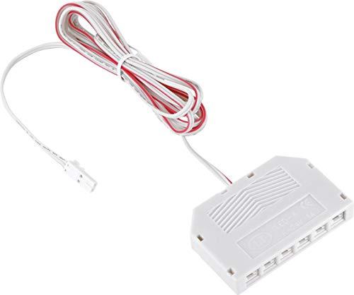 12V MINI-AMP - 2m Kabel mit 6-Fach Verteiler + Stecker - Verbindungskabel Anschlusskabel - weiß