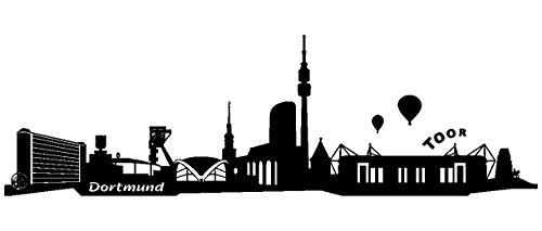 Samunshi® Wandtattoo Dortmund Skyline + Stadion in 5 Größen und 19 Farben (120x36cm schwarz)