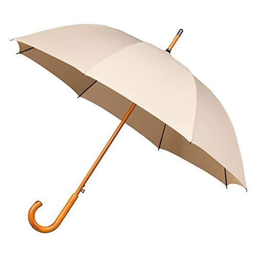 Falconetti Paraplu, lang, uniseks, diameter van meer dan 1 meter, automatisch openingssysteem, robuust met handvat en handvat van hout, beige