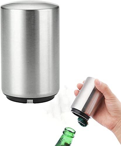 Abridor automático de botellas de cerveza, abridor de presión magnética, utensilios domésticos de acero inoxidable fáciles de usar (2 piezas)