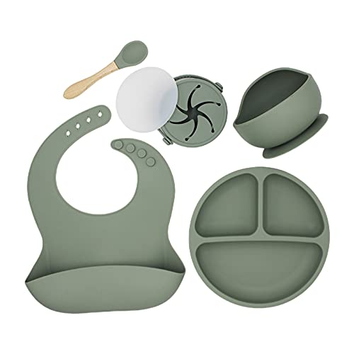 PPuujia Babero 5 piezas baberos baberos babeando eructos delantales+plato de ventosa+plato de cena lechón+cuchara+taza Set de vajilla de silicona (color : AG)
