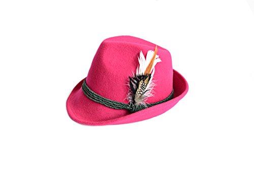 Edelnice Trachtenmode Edelnice Trachtenmode Trachtenhut aus 100% Wolle mit echter Feder, Farbe pink Gr. 57