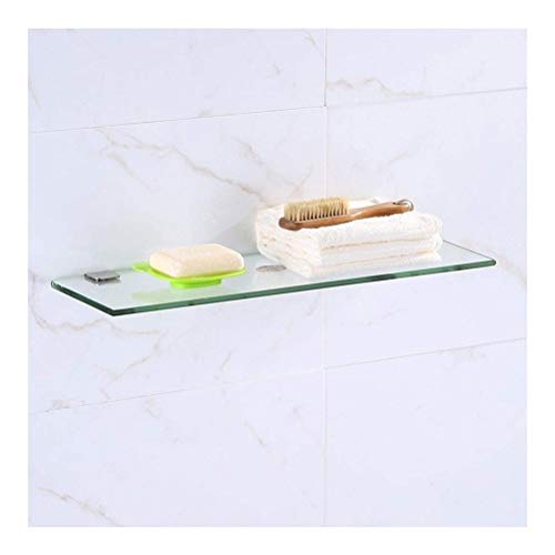 WZNING Estante de baño de cristal templado con soporte rectangular de 8 mm de grosor para pared de vidrio pulido (color: 50 cm, tamaño: 1 nivel)