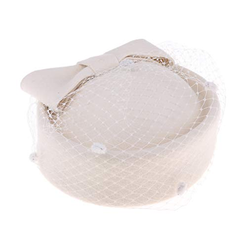 Damen Woolen Birdcage Pillbox Hut Cap Fascir Hochzeit Party Headpiece - Weiß
