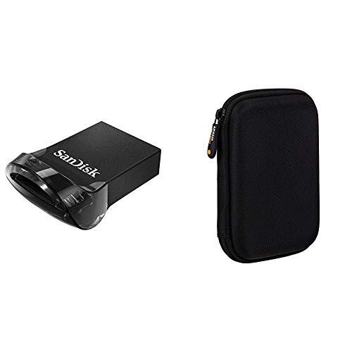 SanDisk Ultra Fit Unità Flash, USB 3.1 da 128 GB con Velocità fino a 130 MB/sec,Tradizionale,Nero,128 GB & Amazon Basics Custodia per Hard Drive esterno