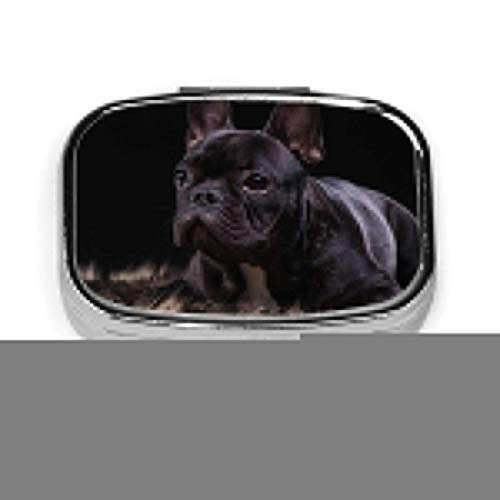 Puppy of The French Bulldog Fashion Square Pill Box Vitamina Medicina Tableta Titular Cartera Organizador Estuche
