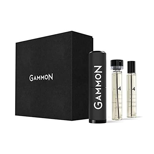 GAMMON Parfum Starter-Set 4 (2x20 ml), das würzig-frische BLACK HOODIE Herren Parfum, langanhaltender Duft für Männer mit 20 % Parfum-Öl, inkl. hochwertigem Aluminium Suit