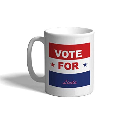 Taza de café personalizada de cerámica 11 onzas de voto político para políticos taza de té blanco
