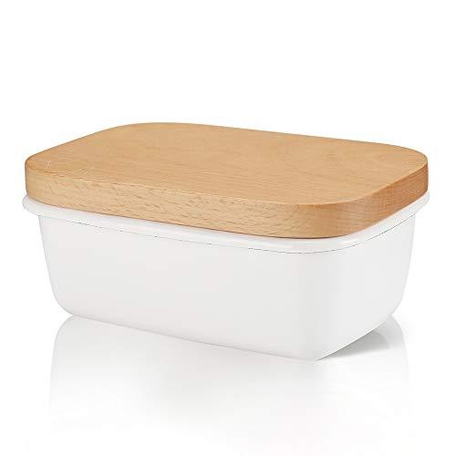 Emaille Butterdose mit Holzdeckel, Weiß Butterbehälter Butterhalter für 250 g Butter
