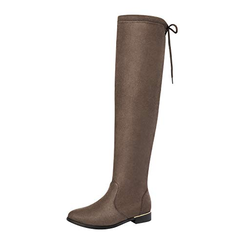 DREAM PAIRS Women's Upland Khaki Suede Over The Knee Thigh High Winter Boots - 8.5 M US