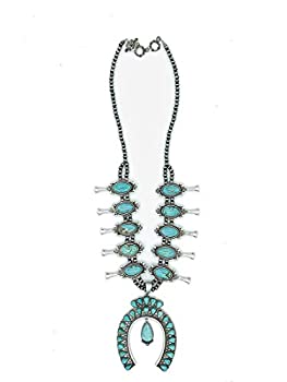 Jayde N  Grey Huge Dramatic Genuine Stone Navajo Southwestern Squash Blossom Tribal Turquoise Necklace Bundle  Necklace & Jewelry Bag  TurqStyle859