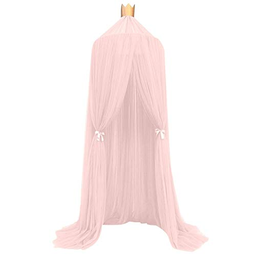Décor de Chambre Enfant Enfants Fairy Princess moustiquaire Couronne Ronde écran Canopy Insect Bed Nets Garden Camping Voile Anti-moustiques (Color : Pink)