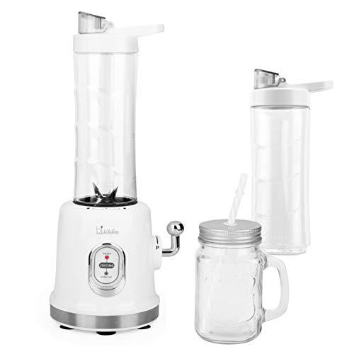 BIKITCHEN Smooth 330 Retro-Smoothie-Maker mit Mix- und Trinkbehältern mit Deckel, 300W, Weiß/Edelstahl