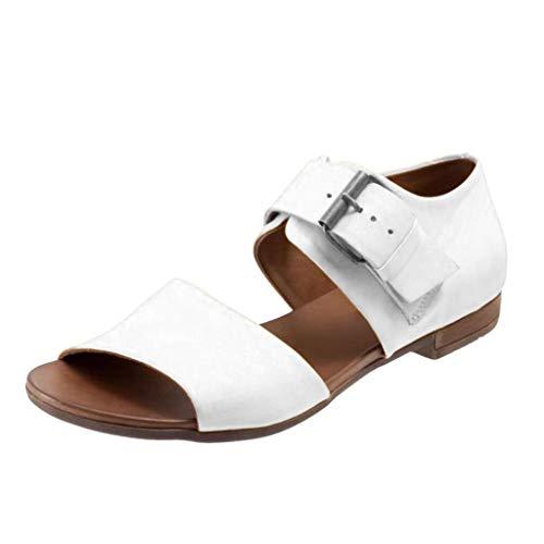 iYmitz Sommer Frauen Flache Sandalen mit Schnalle Mode Gürtelschnalle Sandaletten Unterseite Römischen Damen Schuhe(Weiß,EU/36.5)