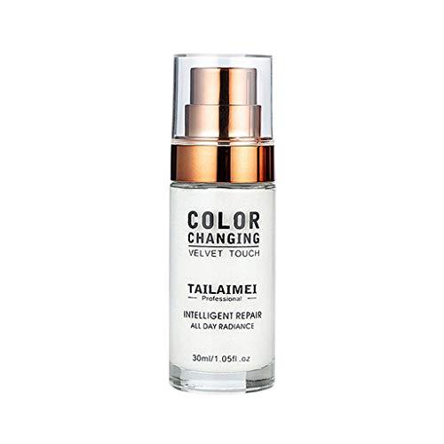 Luckhome Flawless Primer Concealer Foundation In Einem Für EIN Perfekt Farbwechsel Makeup Base Nude Face Liquid Abdeckdeckel Aufhellen Erwärmender Flüssiger Der Hautgrundierung (Weiß)