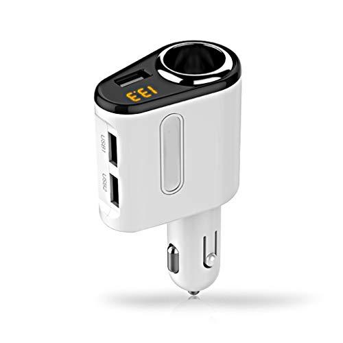 Adaptateur allume-cigare allume-cigare avec chargeur de voiture USB avec affichage de la tension compatible avec IPhone X / 8/8 Plus / 7/7 Plus, iPad Mini 2/3/4 / Air/Pro, Galaxy S8 / S7