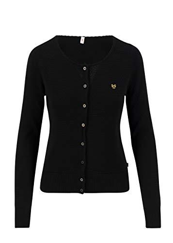 Blutsgeschwister Damen Cardigan Strickjacke Save The Brave Cardy Rundhals Uni Schwarz XS