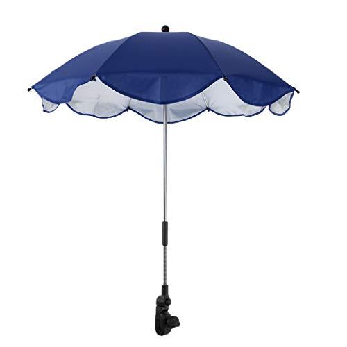 perfk Parasol avec Pince Universelle pour Camping Parapluie de Protection Anti-UV de Voyage - Bleu Royal, 68 x 65 cm