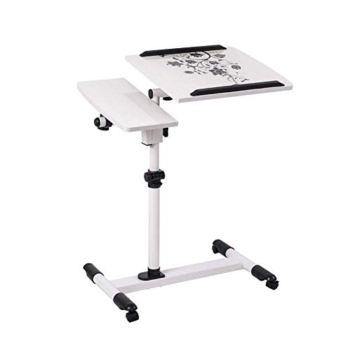 Home Überbetttisch mit Kippplatte, höhenverstellbarem Handy, Notebook- / Laptop-Schreibtischsofa Beistelltisch für Krankenhaus und Schlafsaal, Verwendung, vier Räder (Farbe: A)