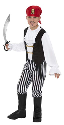 Smiffys kinder piraat kostuum, overhemd, broek, overlaarzen, hoofddoek en riem, maat: M, 25761 Alter 7-9 Jahre zwart/wit