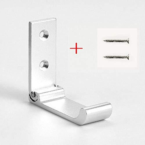 WYZQ Gancho para Muebles para el hogar Gancho de Aluminio Plegable Invisible Gancho para perforar Gratis Gancho de una Fila Gancho para baño Accesorios para el hogar Esmerilado creativos Silveran