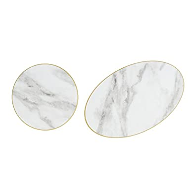 Sugar & Cloth Round and Oval Marble Melamine Serving Trays, 2-Pieces