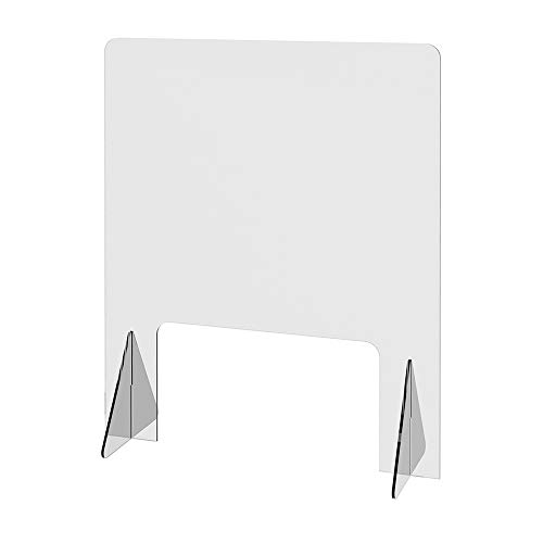 """Sneeze Guard 24"""" x 30"""", Freestanding Countertop, 16"""" x 9"""" Large Window, For Cashiers, Receptionist, Estheticians, Clerks – Use in Retail, Health Clubs, Pharmacies, Medical Clinics (1 Per Package)"""