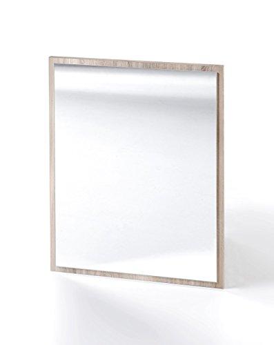 Dreams4Home Spiegel 'Mio 'IX' Wandspiegel Bad Garderobe Weiß Sonoma Eiche Betonoptik 45 x 60 x 2 cm Badspiegel Holzrahmen, Farbe:Sonoma Eiche